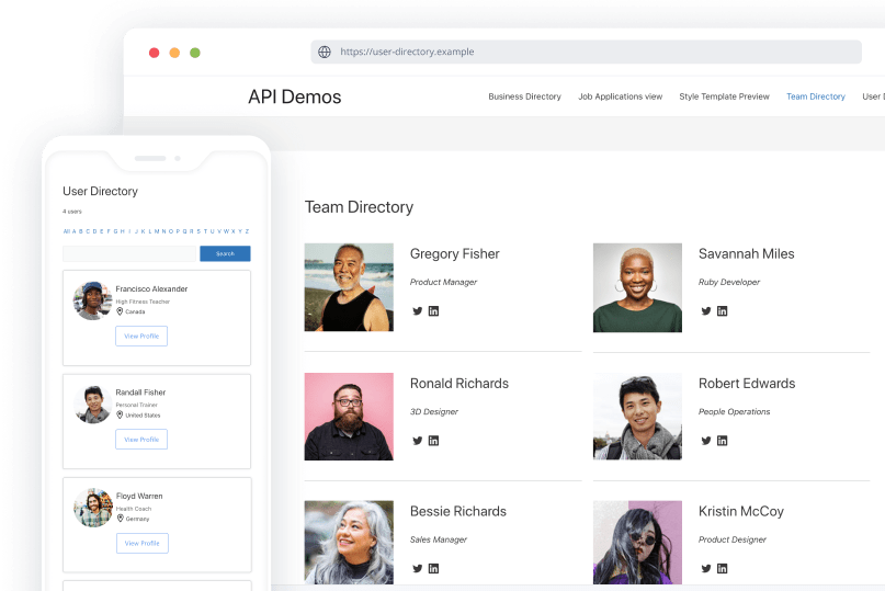 Example Of WordPress Team Directory