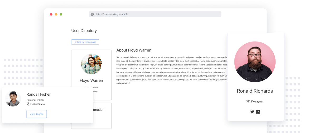 WordPress user directory example