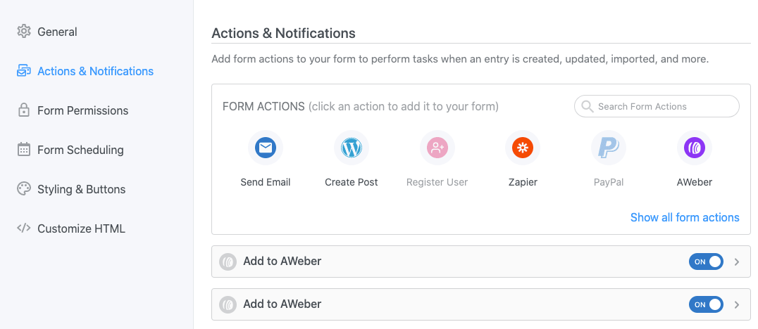 Configuring a WordPress form to collect email addresses