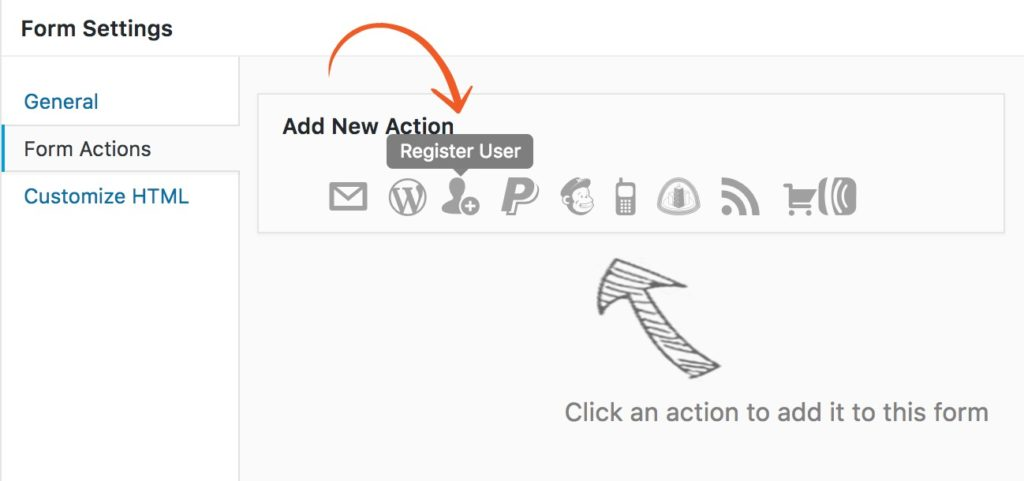 add new user registration form action