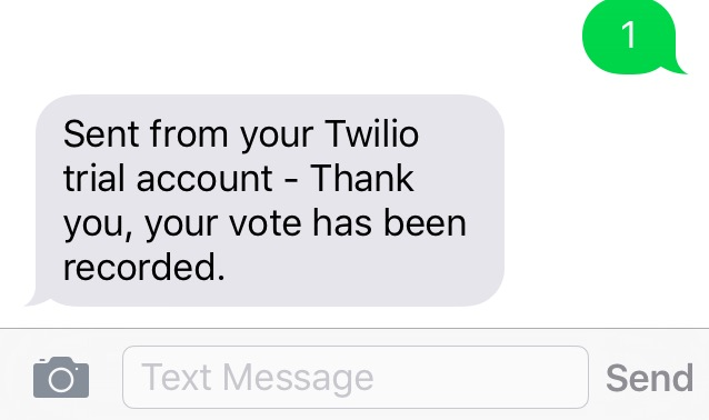Screenshot of confirmation text from Twilio