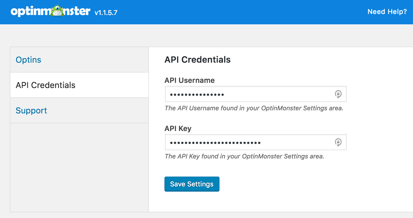 OptinMonster and Formidable Forms: Screenshot showing API credentials in OptinMonster Plugin