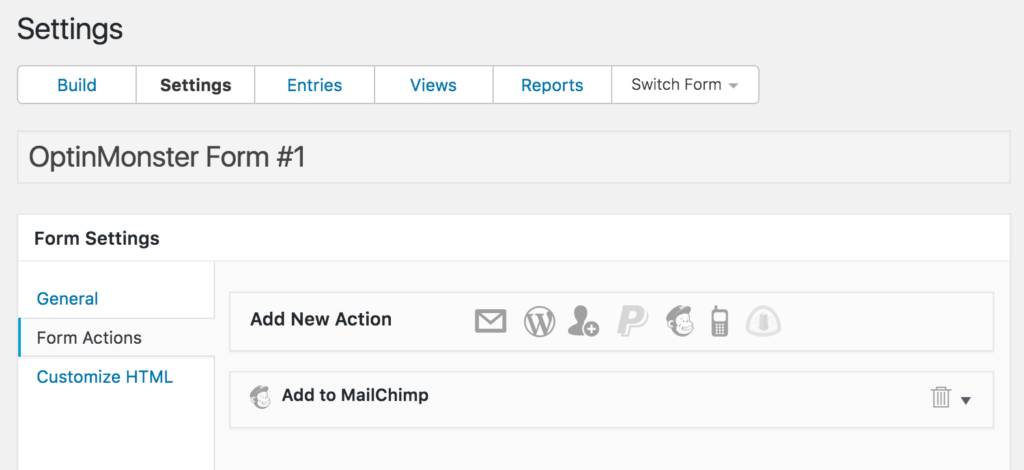 OptinMonster and Formidable Forms Integration: MailChimp form action screenshot