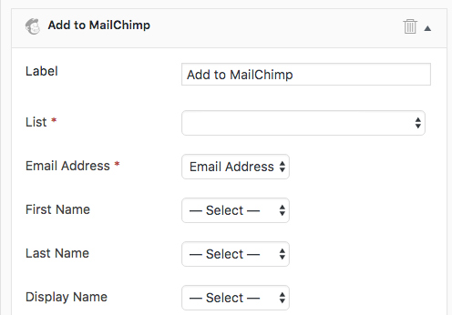 Formidable Forms and OptinMonster Integration: Map to MailChimp screenshot