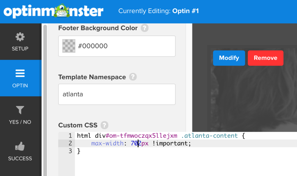 OptinMonster and Formidable Forms custom integration showing custom CSS addition in OptinMonster dashboard