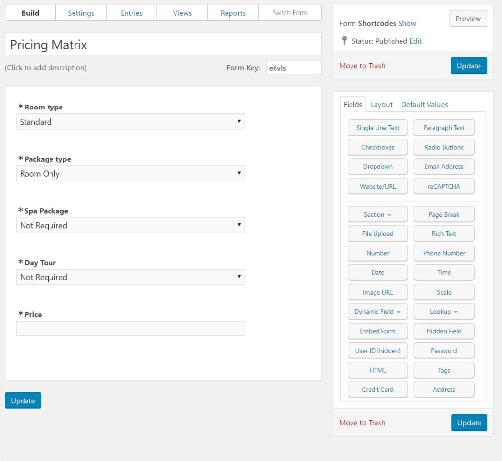 WordPress Price List form to request a quote