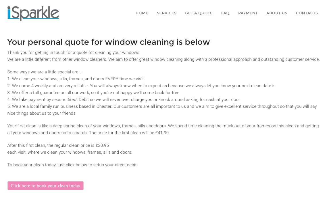creating an instant online quote form a window cleaners case study