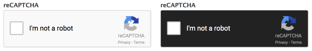 Form reCAPTCHA Styling light and dark