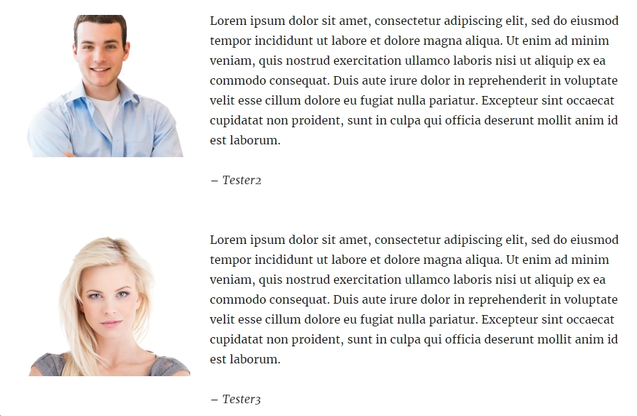 WordPress Testimonial Plugin: WordPress Testimonials form showing placement of profile picture (left) and text (right) in view