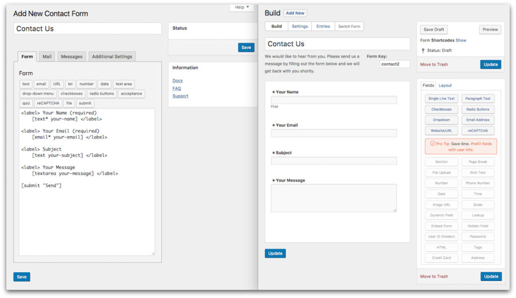 A Free Alternative to Contact Form 7: comparison screenshots showing Contact Form