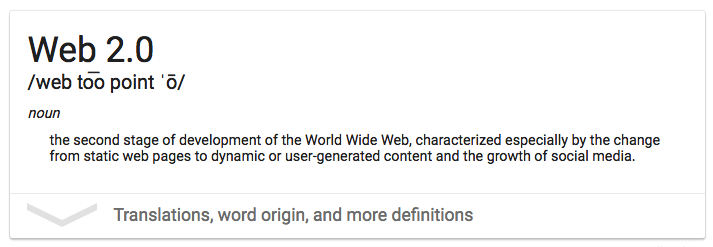 User Generated Content: Google's definition of Web 2.0