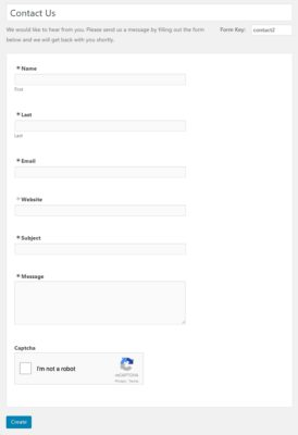 Default WordPress Contact Form Template