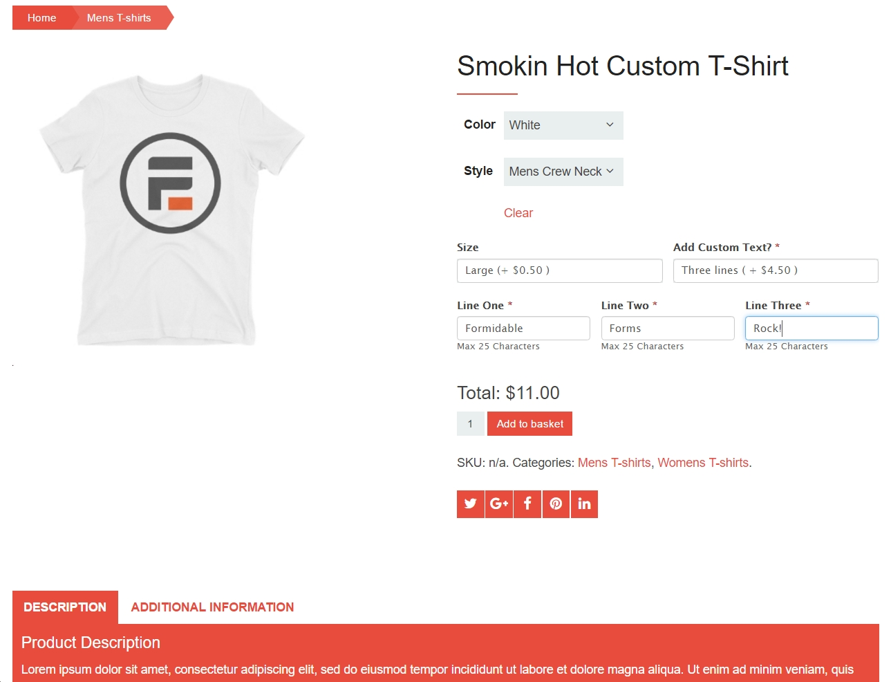 custom WooCommerce t-shirt order form