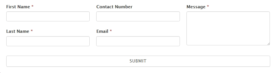 Customized form from contact form template