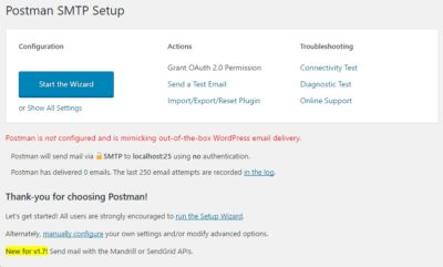 Configure Postman SMTP plugin for WordPress