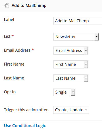 MailChimp for WordPress forms settings