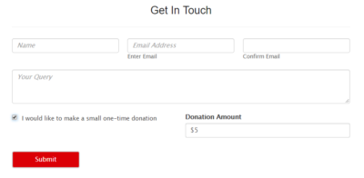 add donation option to wordpress contact form