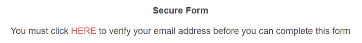 email verification form message