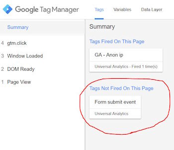 Google tag manager form submit event setup