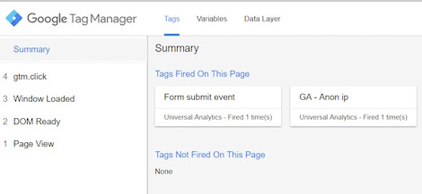 Google tag manager form submit event