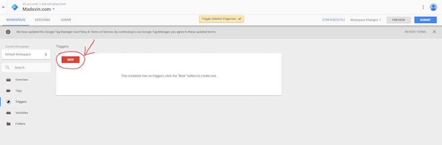 Google tag manager form submit new click trigger