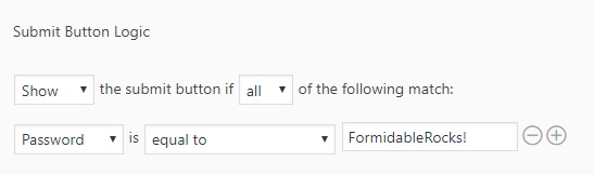 conditional submit settings Formidable form