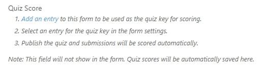 Quiz score field