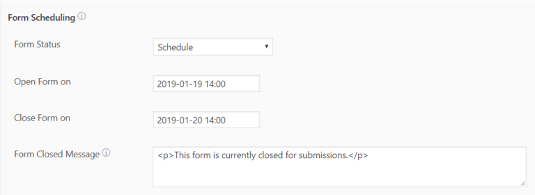 Schedule forms and limit submissions in WordPress