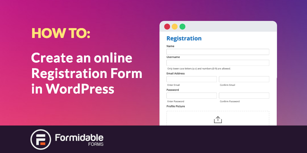 create an online registration form in WordPress