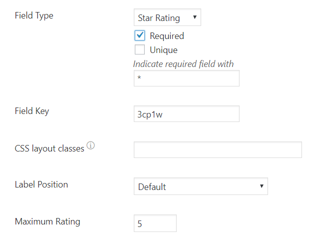 customize star rating field