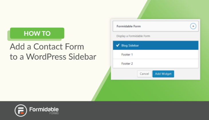 how to add a contact form in a WordPress sidebar