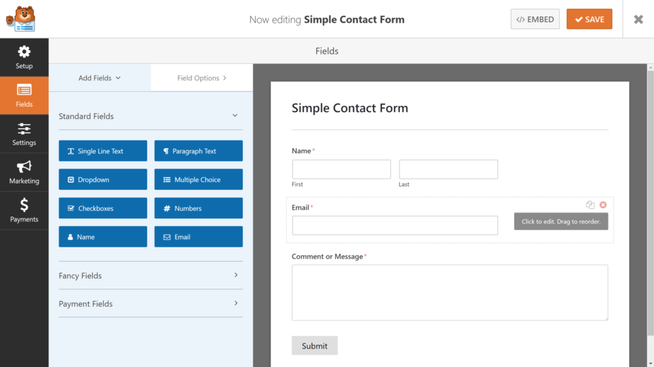 wpforms form builder interface