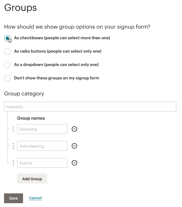 mailchimp groups signup