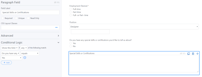 Skills for job application form