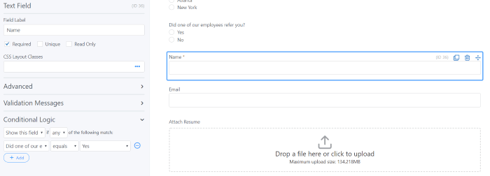 Applicant name in WordPress job application form