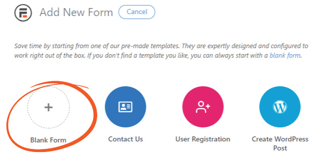 Add blank Formidable forms