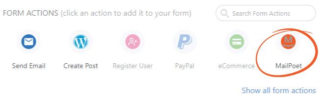 Add MailPoet form action