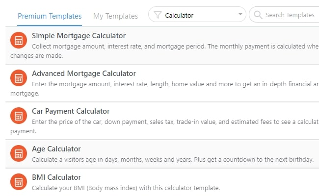 WordPress calculator templates