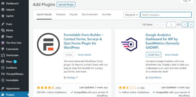 Install Formidable Forms plugins