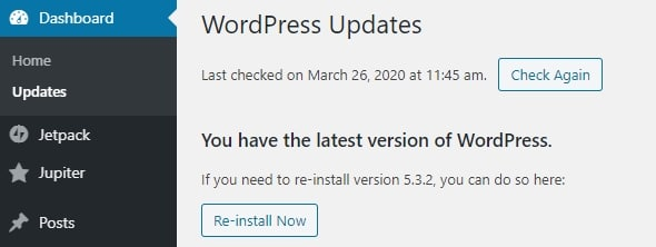 Keep WordPress updated to speed up your site
