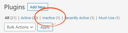 Remove inactive WordPress plugins
