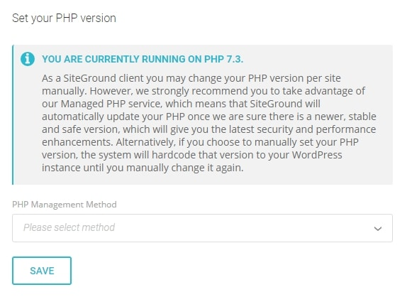 Use the latest PHP version the easy way with Siteground hossting