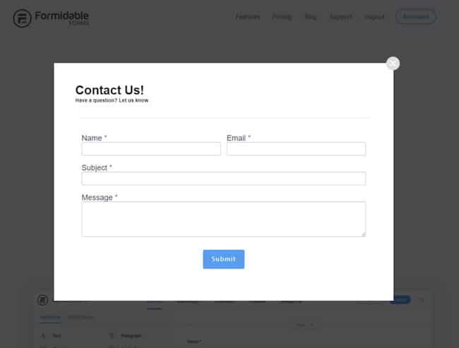contact form modal popup