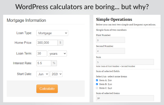 WordPress calculators should be beautiful