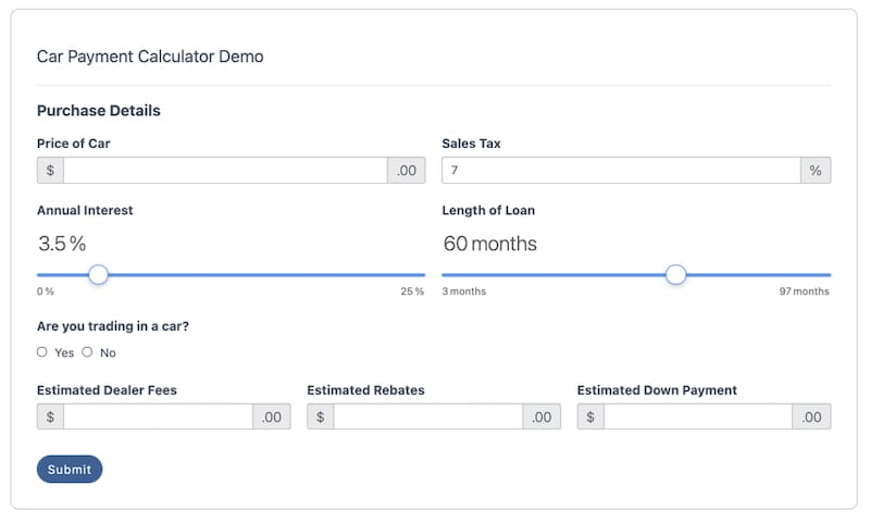 The ultimate car loan calculator WordPress plugin