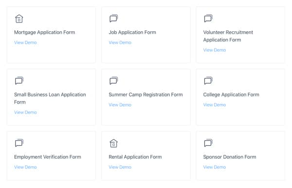 online application form templates