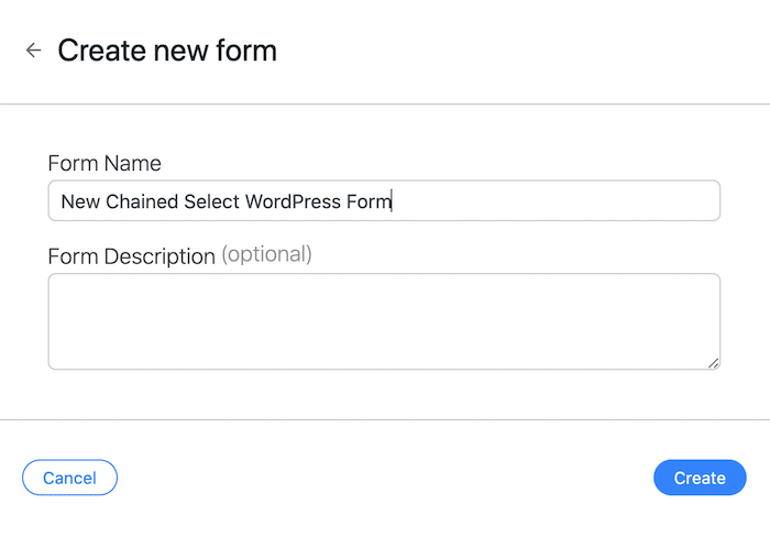 Creating a new chained select WordPress form with Formidable Forms.