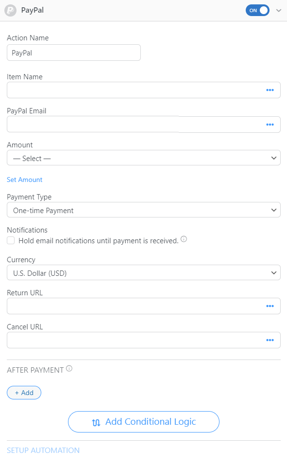 Integrating PayPal into a job listing form.
