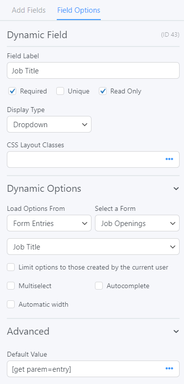 The correct settings to allow a dynamic application field for a job board website.