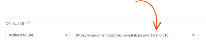 The full version of the search URL required to create a search form for your WordPress recipe database.